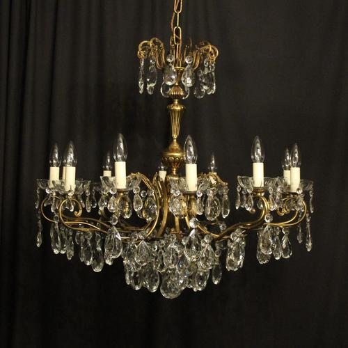 French Gilt & Crystal 12 Light Antique Chandelier Oka04051 (1 of 10)