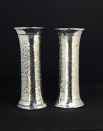 Pair of Arts and Crafts Planished Silver Plated Vases. By Lee and Wigfall. (1 of 7)