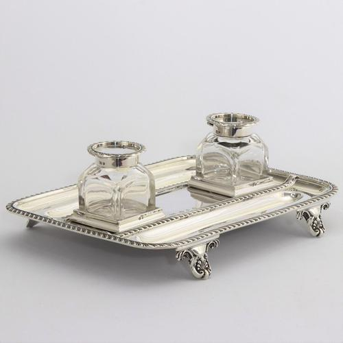Quality Silver Inkstand with Twin Inkbottles by Elkington & Co. 1898 (1 of 12)