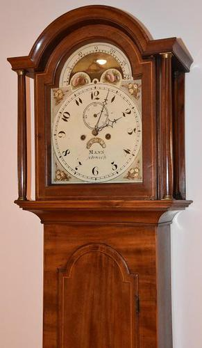 Lovely 19th Century Eight Day Mahogany Moon Rolling Longcase Clock by Mann of Norwich c.1810-1830 (1 of 5)