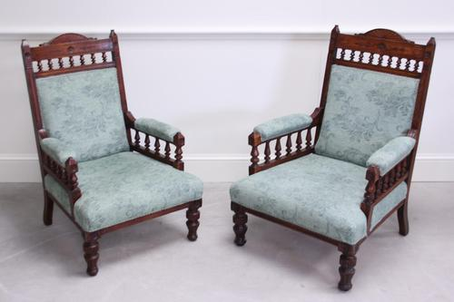 Pair of Victorian Carved Oak 'His & Hers' Easy Chairs (1 of 6)