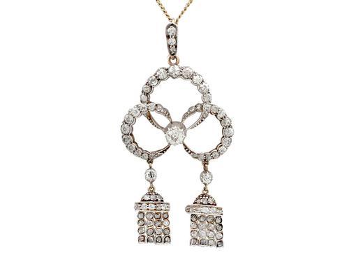 2.39ct Diamond & 9ct Yellow Gold Pendant - Antique c.1900 (1 of 12)