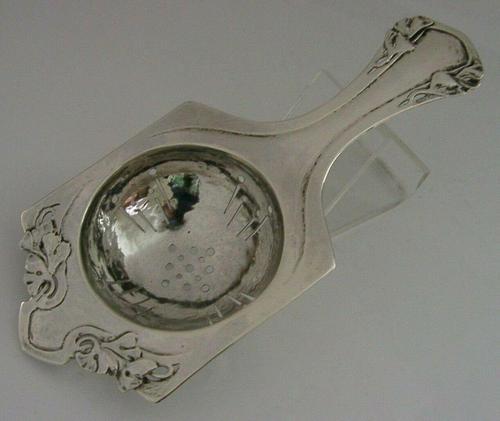 Stunning Arts & Crafts Nouveau Sterling Silver Tea Strainer Plannished c.1900 (1 of 7)