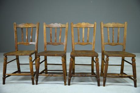Set of 4 Rustic Kitchen Chairs (1 of 7)