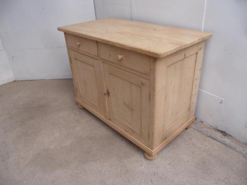 Small Victorian Antique Pine 2 Door Dresser Base / TV Stand to wax / paint (1 of 8)