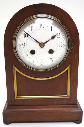 Fine Edwardian Mahogany Balloon Clock Brass Inlay Striking Mantel Clock (1 of 9)