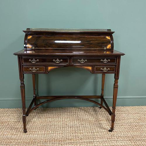 Spectacular Quality Victorian Rosewood Inlaid Antique Writing Desk (1 of 12)