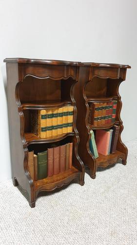 Dwarf Pair of Walnut Waterfall Bookcases (1 of 7)