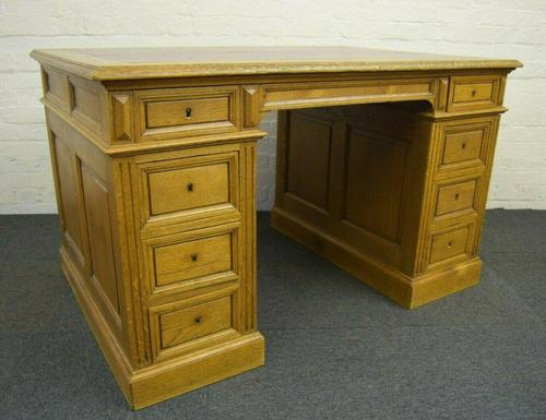 Antique Solid Oak Pedestal Desk (1 of 10)
