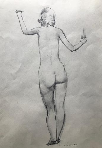 Original pencil drawing 'Nude study' by Alistair Michie. 1921-2008. Framed. Signed. c.1960 (1 of 2)