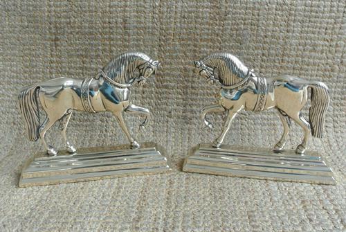 Fine Pair of Victorian Cast Brass Horse Hearth Ornaments Door Stop Door Porter (1 of 7)