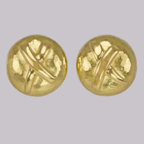 Paloma Picasso 18ct Gold X Earrings Vintage Dome Kiss Post Tiffany & Co Earrings (1 of 13)