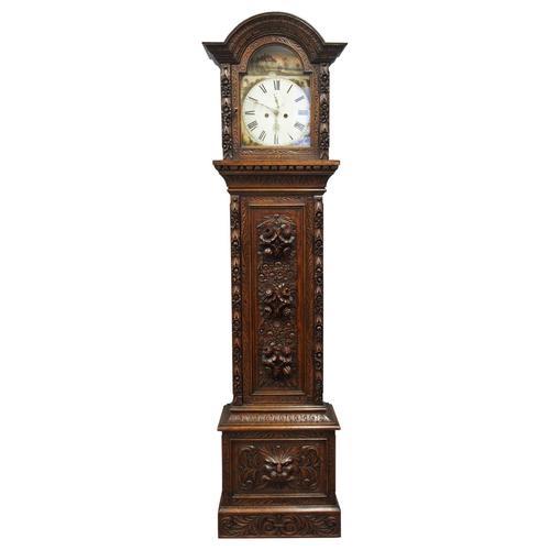 Flemish Carved Oak Grandfather Clock (1 of 13)