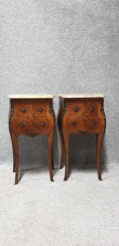 Excellent Pair of French Marquetry Bedside chests (1 of 6)