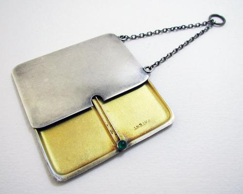 Antique English Solid Sterling Silver Double Stamp Case for Chatelaine Necklace Albert Chain 1913 (1 of 5)