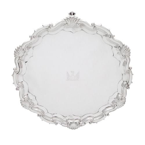 """Antique Victorian Sterling Silver 10"""" Salver / Tray 1888 (1 of 8)"""