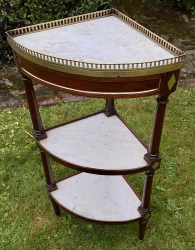 French Corner Stand in Mahogany & Marble (1 of 4)