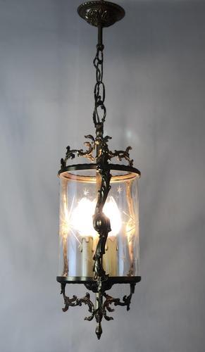 Vintage French Gilt Bronze Three Light Hall Lantern Pendant (1 of 12)