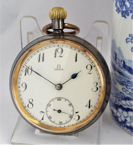 An Antique Gun Metal Omega Pocket Watch (1 of 5)