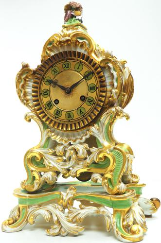 Antique 8 Day Porcelain Mantel Clock Sevres Green Floral French Mantle Clock (1 of 6)