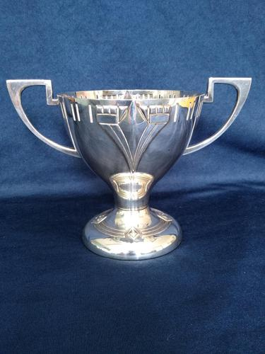 Pure Art Deco Silver Plated Trophy Shaped Vase (1 of 3)