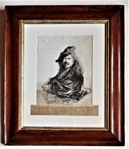 After Rembrandt, copy of portrait, etching, late 18th century, in period frame (1 of 6)