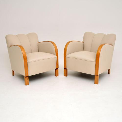 Pair of Swedish Art Deco  Satin Birch Armchairs (1 of 11)
