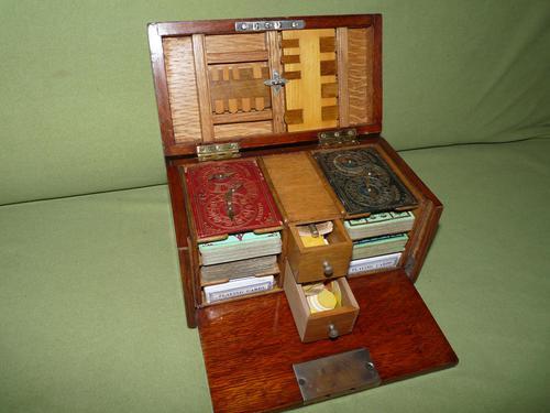 Unusual Oak Games Box - Bezique + Antique Cards + More (1 of 16)