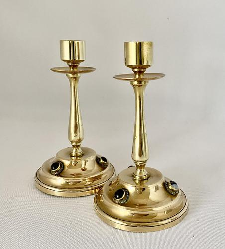 Brass Candlesticks Set with Cabochon Agates (1 of 5)