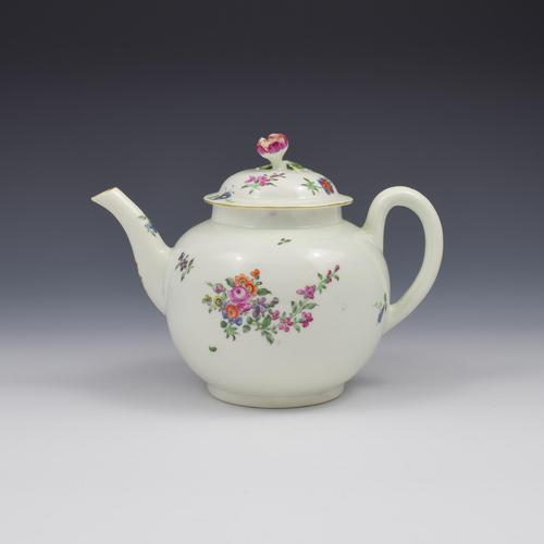 First Period Worcester Porcelain Floral Painted Globular Teapot c.1765 (1 of 13)