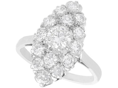 1.78ct Diamond & Platinum Marquise Cluster Ring - Antique c.1920 (1 of 9)