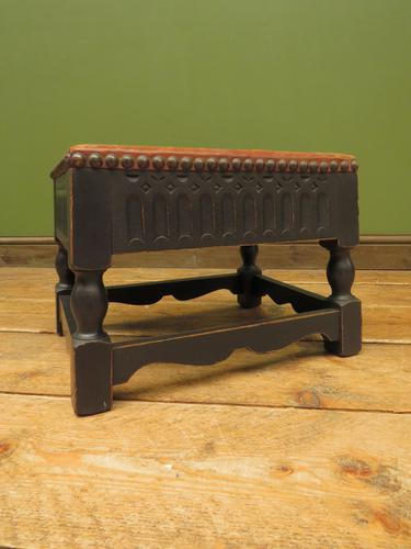 Small Vintage Wooden Black Painted Foot Stool with Brown Leather Top (1 of 17)