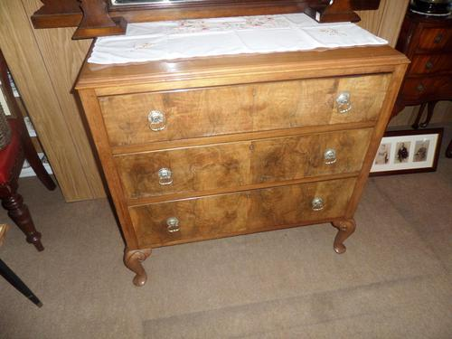 Nice 3 Drawer Oak Chest with Burr Walnut Facings (1 of 6)