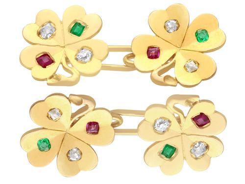 0.24ct Diamond, 0.15ct Ruby & Emerald, 18ct Yellow Gold Clover Cufflinks - Antique c.1910 (1 of 6)