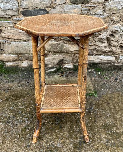 Antique Victorian Octagonal Bamboo Rattan Table (1 of 9)
