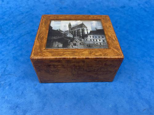1920s Burr Cedar Box with Engraved Mother of Pearl Panel to the Top of a Cathedral (1 of 8)