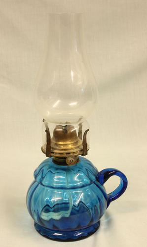 Antique Blue Glass Finger / Hand Oil Lamp (1 of 6)