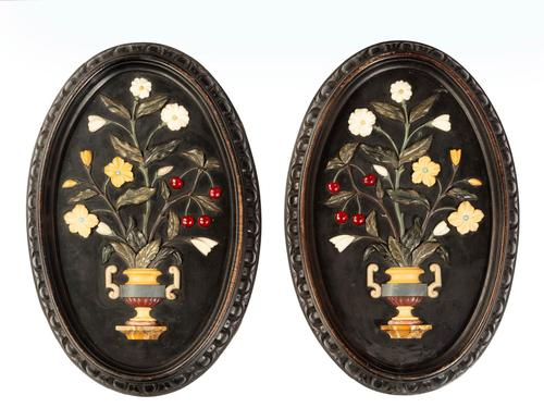 Attractive Pair of Late 19th Century Pietra Dura Pictures (1 of 4)
