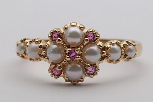 14ct Gold Split Pearl & Ruby Dress Ring (1 of 4)