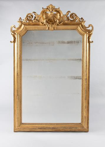 Large 19th Century French Gilt Overmantle Mirror (1 of 8)