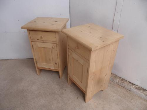 Superb Pair of Plain Small Antique Pine Bedside Cabinets to wax / paint (1 of 7)