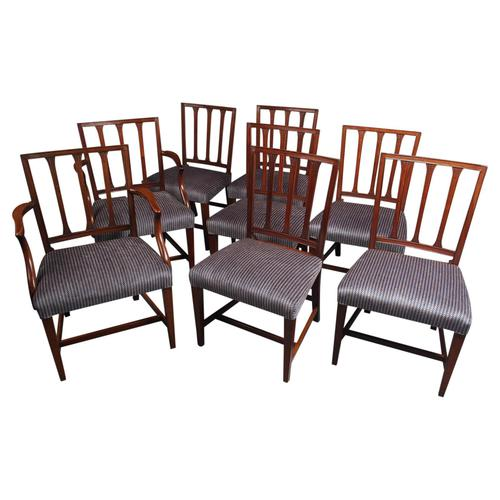 Antique Set of 8 George III Mahogany Dining Chairs (1 of 11)