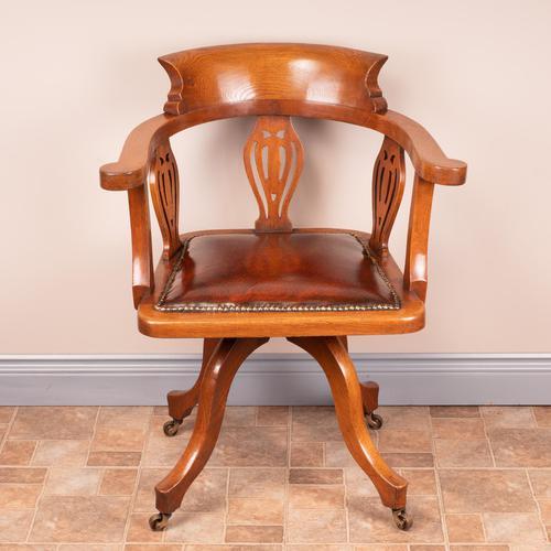 Oak Revolving Office Desk Chair (1 of 10)