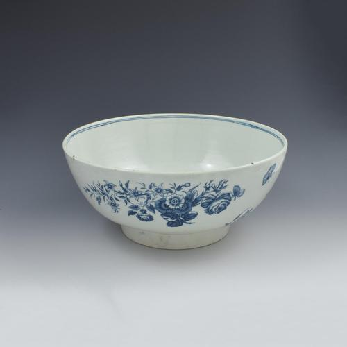 """First Period Worcester Large 11"""" Porcelain Punch Bowl Three Flowers Pattern c.1770 (1 of 15)"""