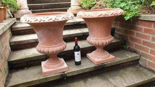 Large Pair Tuscan Terracotta Urns (1 of 4)