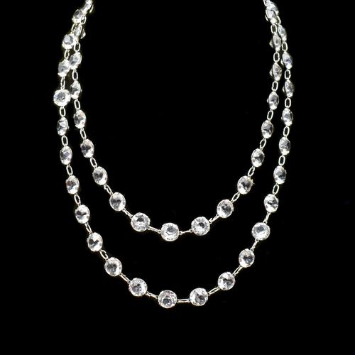 """Art Deco French Paste Long Silver Guard Chain Necklace 38"""" Antique (1 of 9)"""