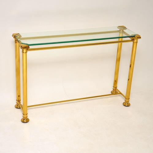 1970's Vintage Brass & Glass Console Table (1 of 8)