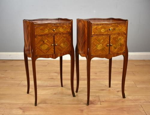 Pair of Louis XVI Style Marquetry Inlaid Bedsides Cabinets (1 of 8)