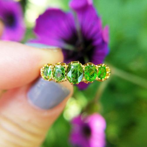 Antique Edwardian Demantoid Garnet Five Stone Ring 1911, Green Garnet (1 of 8)