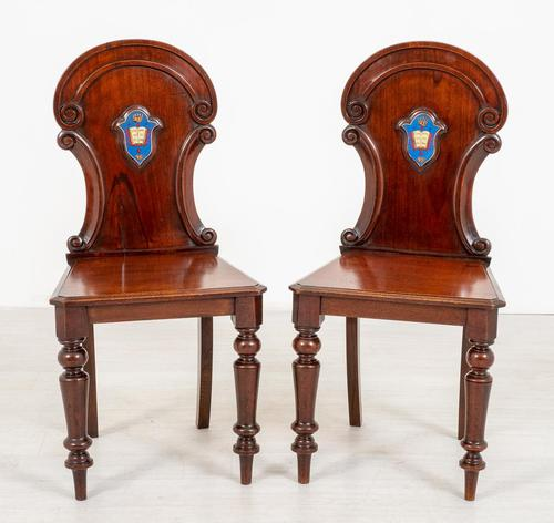 Good Pair of Victorian Mahogany Hall Chairs (1 of 8)